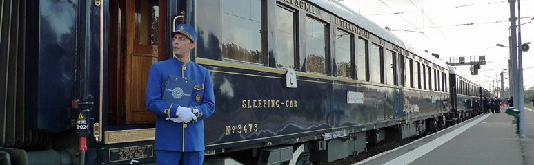 LX-type sleeping-car of the Venice Simplon Orient Express train boarding at Calais