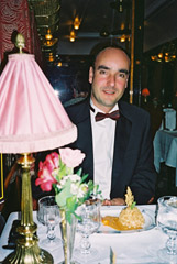 Yours truly at dinner on the Venice Simplon Orient Express...