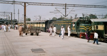 A Pakistan Railways express train at Lahore.