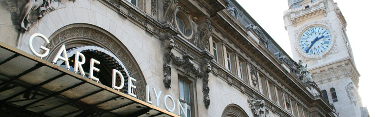 Paris Gare de Lyon station facade close up