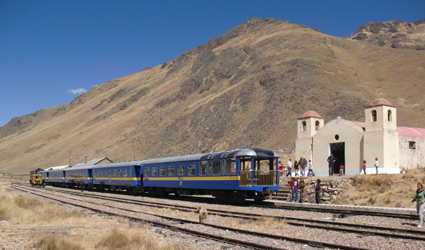 The Andean Explorer train en route to Puno