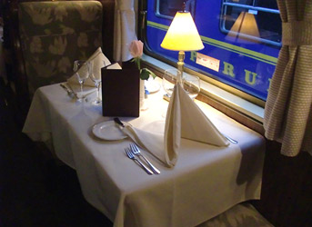 Dinner on the Hirham Bingham train