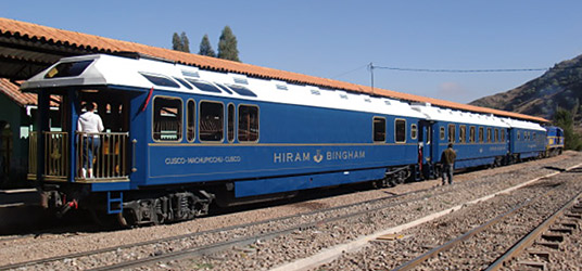 The Hirham Bingham train to Machu Picchu