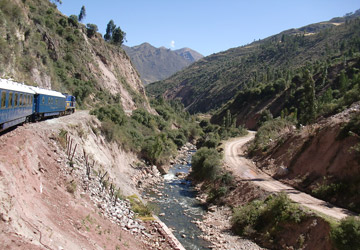 The train to Machu Picchu alongside the Urubamba River