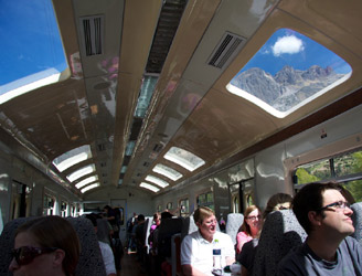 Mountains viewed through the roof windows of the Ollantaytambo to Machu Picchu shuttle train