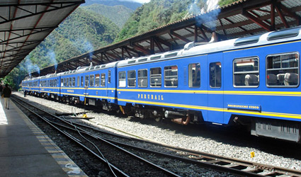 The Vistadome train to Machu Picchu at Aguas Calientes station