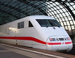 High-speed ICE train from Cologne to Berlin, at Berlin Hauptbahnhof