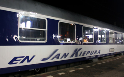 A couchette car on the Jan Kiepura overnight train to Warsaw