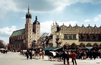 Cathedral & main square, Krakow, Poland.  Easy to reach by train from London..!