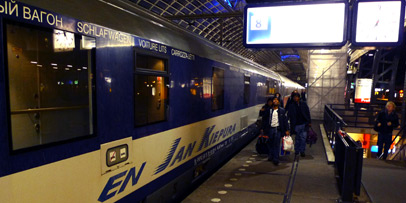 The EuroNight train Jan Kiepura from Amsterdam to Warsaw, at Amsterdam centraal