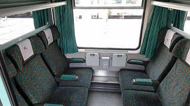2nd class 6-seat compartment on the Berlin to Warsaw train.