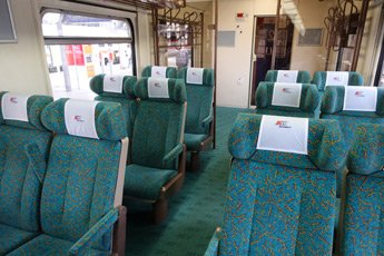 2nd classopen saloon seating on the Berlin to Warsaw train