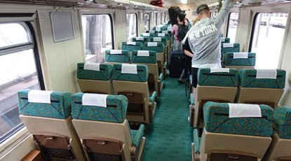 2nd class open plan seating on the Berlin to Warsaw train