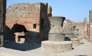 Ruined bakery in Pompeii