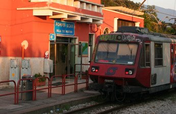 The Circumvesuviana train from Naples to Pompeii Scavi...