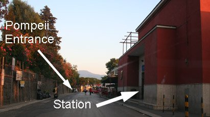 Location of Circumvesuviana station & entrance to Pompeii