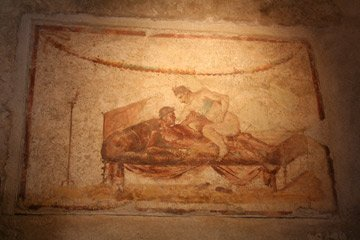 Wall painting in the lupanar, Pompeii