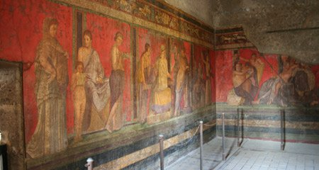 Beautiful wall paintings in Pompeii's Villa dei Misteri
