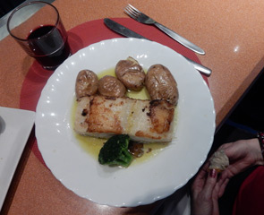 Hot dish served in the trainhotel cafe-bar