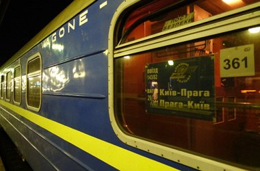 Close-up of sleeping-car from Prague to Lviv & Kiev