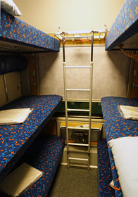 6-bunk couchettes on the Prague to Krakow train