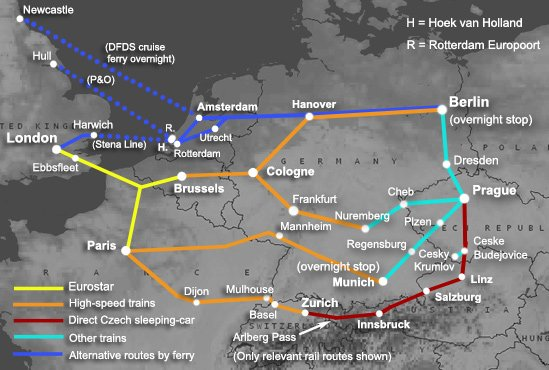 Route map:  London to Prague by train