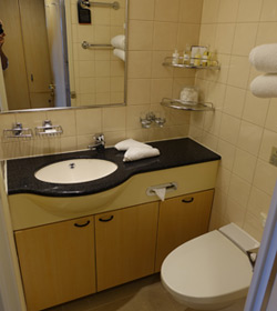 QM2 stateroom 4101 en suite toilet & shower