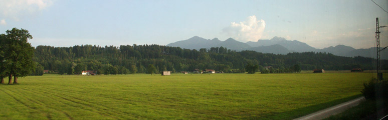 Scenery on the Munich to Budapest train route