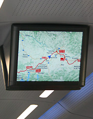 TV screen showing the train's location