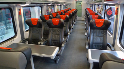 First class seats on a Vienna-Budapest railjet train