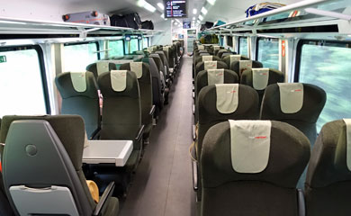 Economy seats on a Vienna-Budapest railjet train