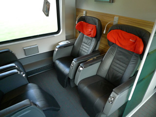 Business class seats on a Vienna-Budapest railjet train