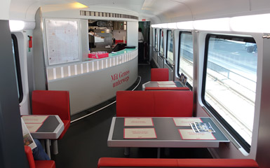 Restaurant car on a Vienna-Budapest railjet train