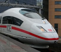 Seeing Europe with a Eurail pass:  A German high speed ICE train at Brussels
