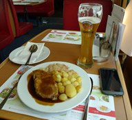 Seeing Europe with a railpass: A table for two in the restaurant car of the Paris-Madrid trainhotel
