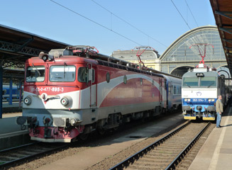 The 'Transylvania' train to Brasov about to leave Budapest