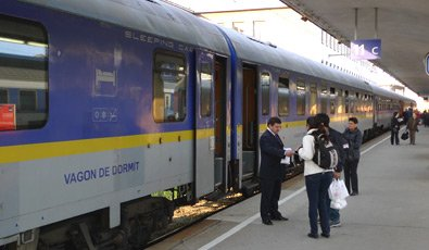 The Romanian sleeping-car on the Dacia Express to Bucharest, at Vienna
