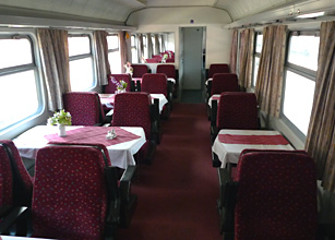 Hungarian restaurant car on the train to Sighisoara & Brasov