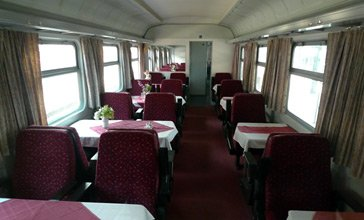 Hungarian restaurant car on the train to Brasov