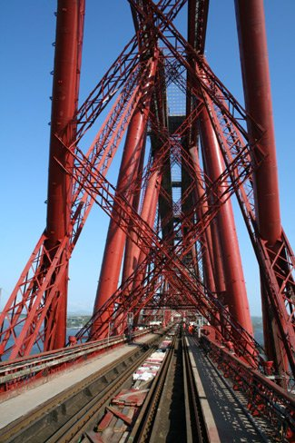 The incomparable Forth Bridge, seen from the viewing platform at the rear of the Royal Scotsman cruise train