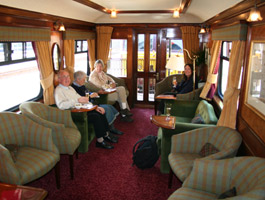 Lounge-observation car on the Royal Scotsman cruise train.
