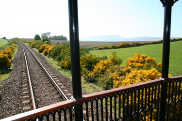 Gorse on the Inveness-Aberdeen line, seen from the rear of the Royal Scotsman train