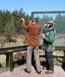 Clay pigeon shooting during an off-train excursion near Aviemore