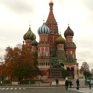 St Basil's Cathedral, Moscow.  It's easy to reach Moscow by train..!