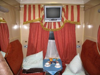 2-berth first class compartment on the 'Rossiya' from Moscow to Vladivostok