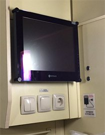 TV screen in 2-bed sleeper on Kiev-Moscow train