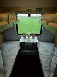 A 4-berth sleeper with beds folded out