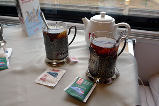 Tea served on the Paris-Moscow Express