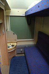 A newly-refurbished sleeper compartment as used on the Vienna to Kraow train
