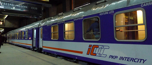 The 'Polonez' overnight train to Moscow about to leave Warsaw Centralna
